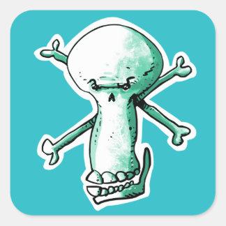 Adesivo Quadrado um crânio manhoso que ri desenhos animados