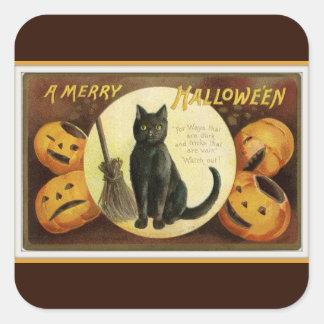 Adesivo Quadrado Um gato preto alegre do Dia das Bruxas e abóboras