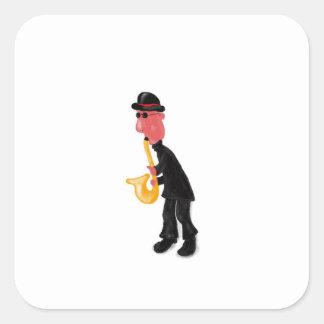 Adesivo Quadrado Um homem que joga o saxofone