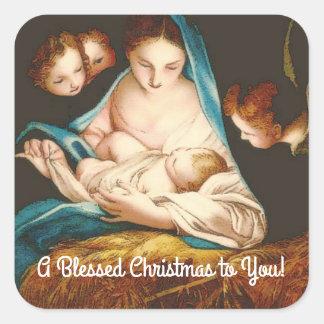 Adesivo Quadrado Um Natal abençoado