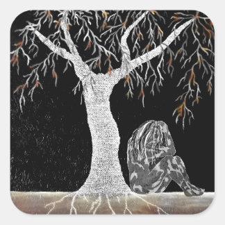 Adesivo Quadrado Um ramo da vida a contemplar