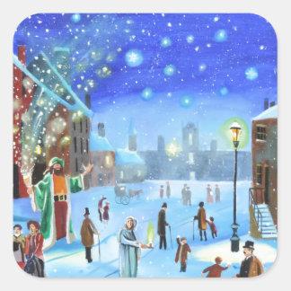 Adesivo Quadrado Uma cena da rua do inverno de Scrooge da canção de