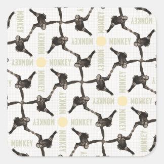 Adesivo Quadrado Uma cena do macaco