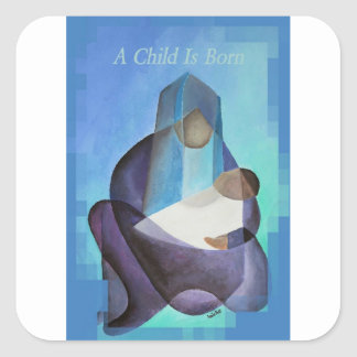 Adesivo Quadrado Uma criança é Natal nascido
