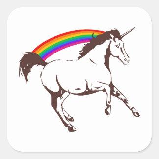 Adesivo Quadrado Unicórnio com arco-íris