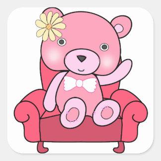 Adesivo Quadrado Urso cor-de-rosa na arte do sofá