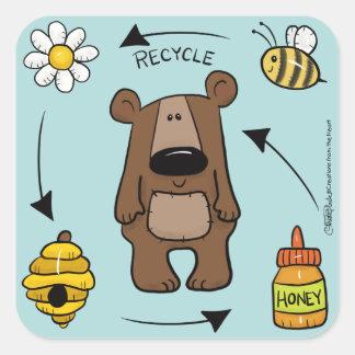 Adesivo Quadrado Urso de mel o reciclador