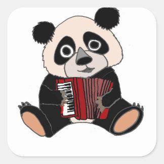 Adesivo Quadrado Urso de panda engraçado que joga o acordeão