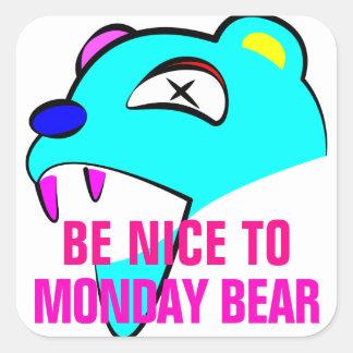 Adesivo Quadrado Urso de segunda-feira