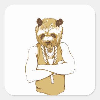 Adesivo Quadrado urso humano com língua