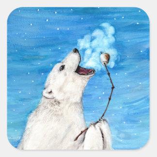 Adesivo Quadrado Urso polar com Marshmallow brindado