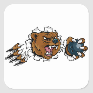 Adesivo Quadrado Urso que guardara a bola de boliche que quebra o