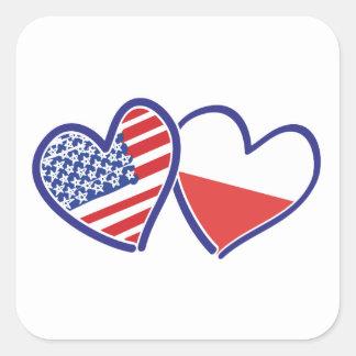 ADESIVO QUADRADO USA-POLISH-FLAG-HEARTS