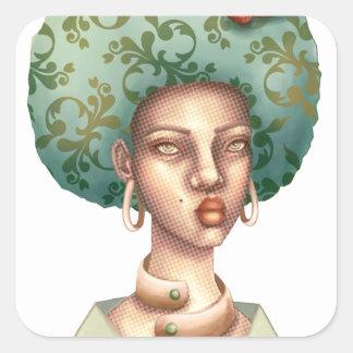 Adesivo Quadrado Vá com para - a senhora com arte original do Afro