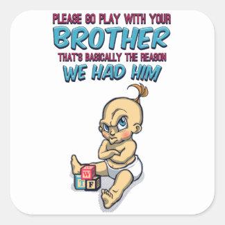 Adesivo Quadrado Vai o jogo com seu irmão - parentalidade perfeita