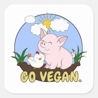 Adesivo Quadrado Vai o Vegan - porco bonito e galinha