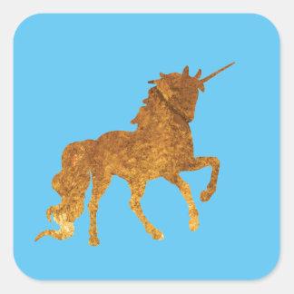 Adesivo Quadrado Várias cores Prancing mágicas do unicórnio dourado