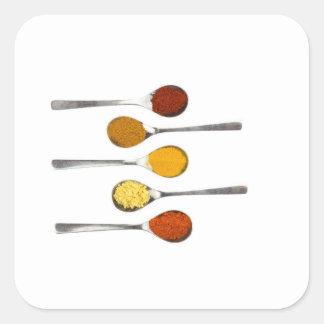 Adesivo Quadrado Várias especiarias do tempero em colheres do metal