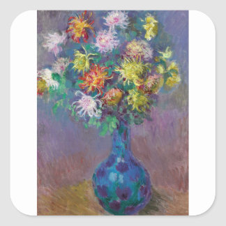 Adesivo Quadrado Vaso dos crisântemos Claude Monet