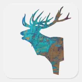 Adesivo Quadrado veado principal dos cervos nos turquois