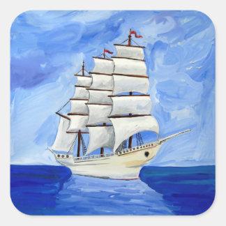Adesivo Quadrado veleiro branco no mar azul