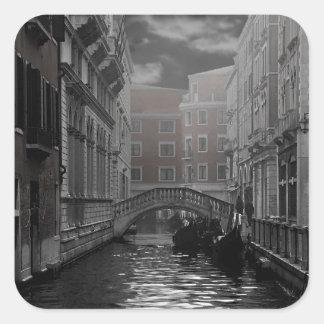 Adesivo Quadrado Veneza em preto e branco
