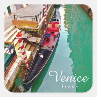 Adesivo Quadrado Veneza, Italia (IT) - estação colorida da gôndola