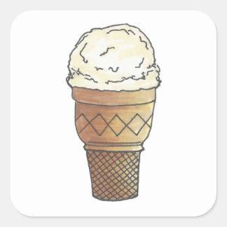 Adesivo Quadrado Verão de creme da sobremesa do cone do bolo da