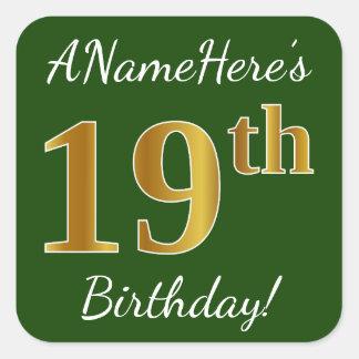 Adesivo Quadrado Verde, aniversário do ouro do falso 19o + Nome