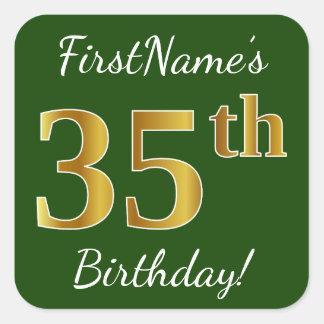 Adesivo Quadrado Verde, aniversário do ouro do falso 35o + Nome