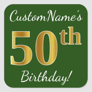 Adesivo Quadrado Verde, aniversário do ouro do falso 50th + Nome