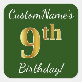 Adesivo Quadrado Verde, aniversário do ouro do falso 9o + Nome