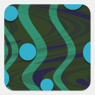 Adesivo Quadrado Verde azul marmoreado da onda do ponto