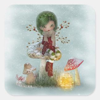 Adesivo Quadrado verde do inverno