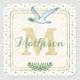 Adesivo Quadrado Verde do monograma da aguarela e tipografia do