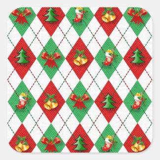 Adesivo Quadrado verde vermelho do design novo do Natal
