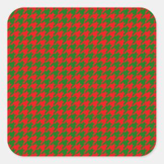 Adesivo Quadrado Verificação vermelha e verde do Natal clássico de