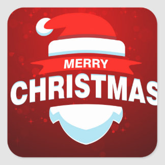 Adesivo Quadrado Vermelho bonito do Xmas do Feliz Natal de Papai