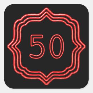 Adesivo Quadrado Vermelho de néon 50