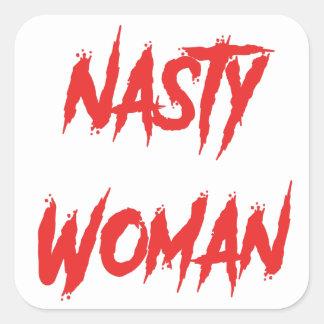 Adesivo Quadrado Vermelho desagradável da mulher