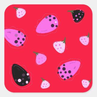 Adesivo Quadrado Vermelho selvagem dos figos do design