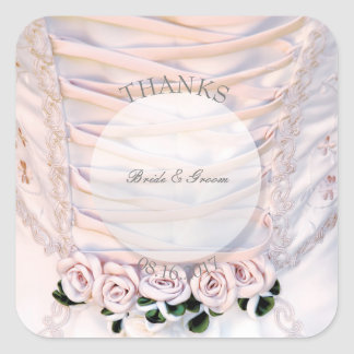 Adesivo Quadrado Vestido nupcial branco com os rosas que Wedding