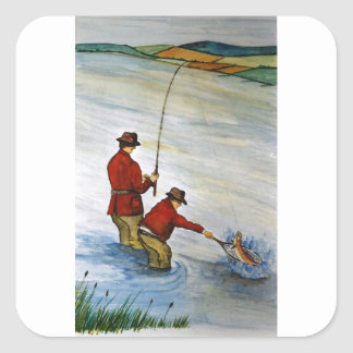Adesivo Quadrado Viagem de pesca do pai e do filho