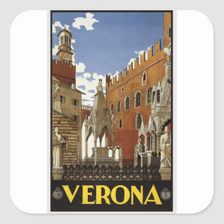 Adesivo Quadrado Viagem de Verona do vintage
