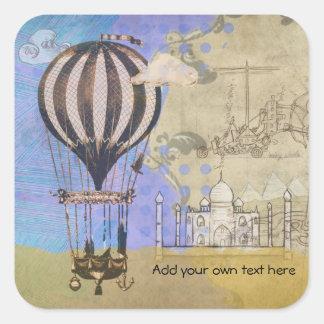 Adesivo Quadrado Viagem do avião do balão de ar quente do vintage