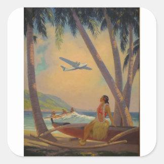Adesivo Quadrado Viagem havaiano do vintage - dançarino da menina
