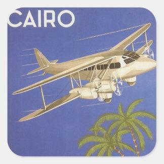 Adesivo Quadrado Viagens vintage ao Cairo, Eygpt, avião do biplano