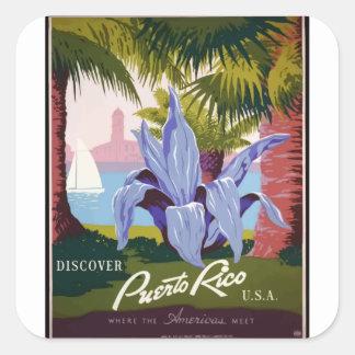Adesivo Quadrado Viagens vintage Puerto Rico