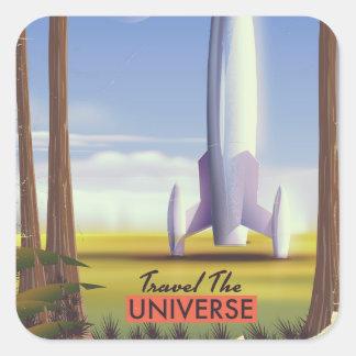 Adesivo Quadrado Viaja o espaço retro art. do universo