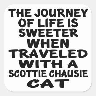 Adesivo Quadrado Viajado com o gato do chausie do Scottie